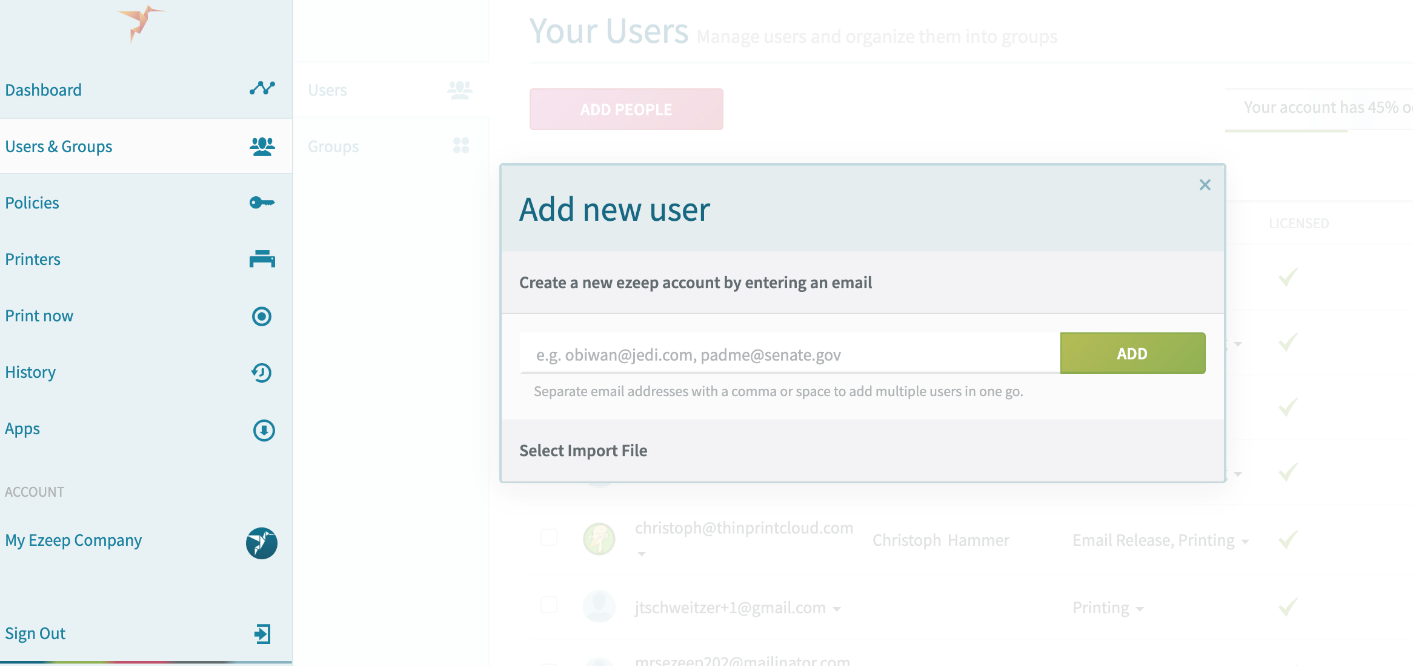screenshot: Add new user popup