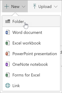 New menu showing new folder option