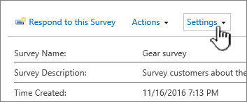 The Survey settings button on the top of an overall survey view