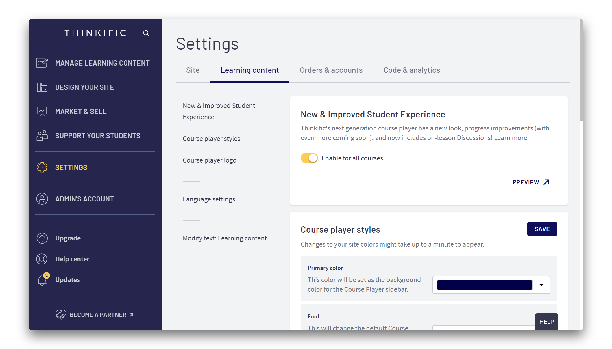 Settings > Learning Content > New & Improved Student Experience