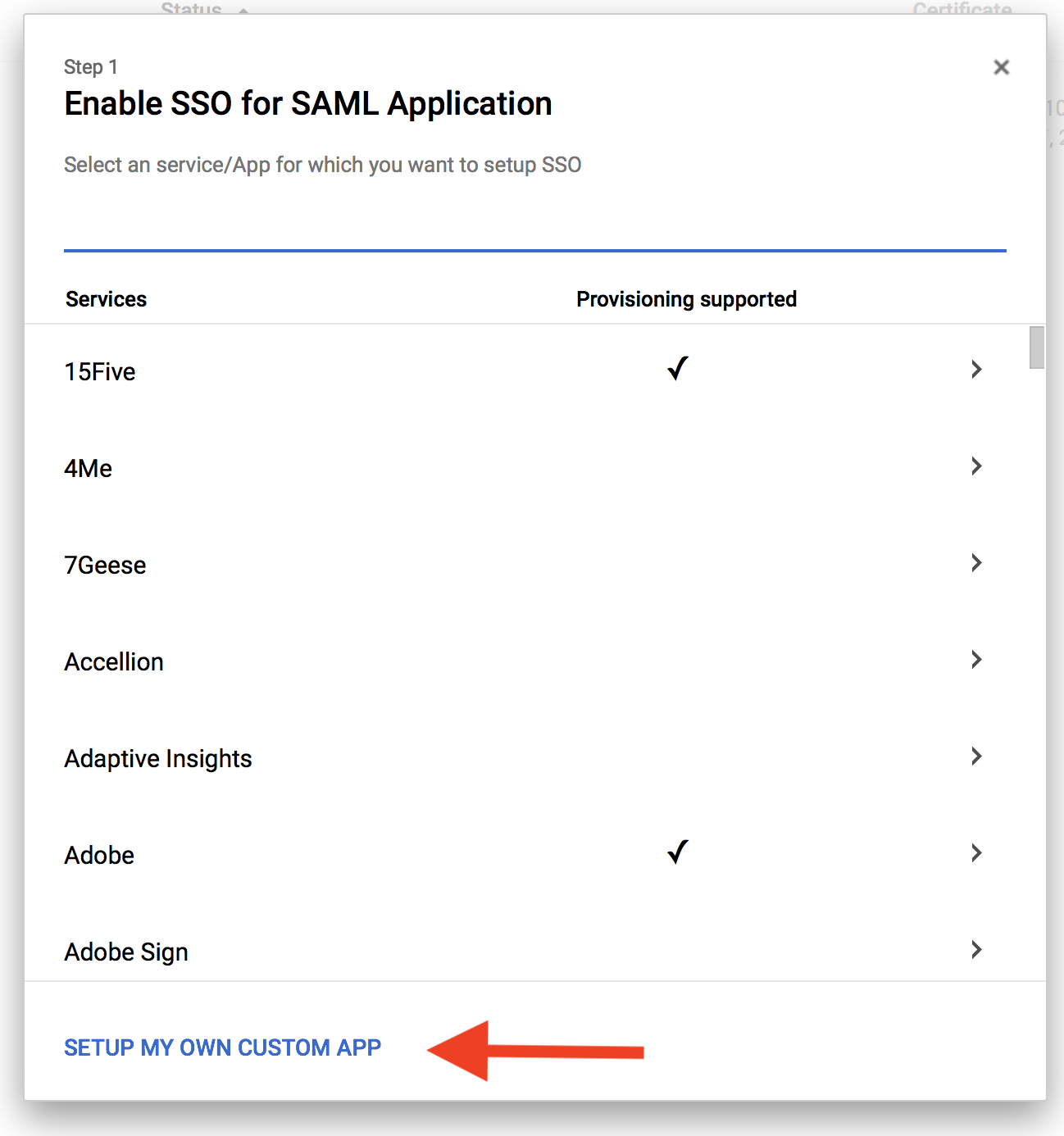 screenshot: Enable SSO for SAML Application
