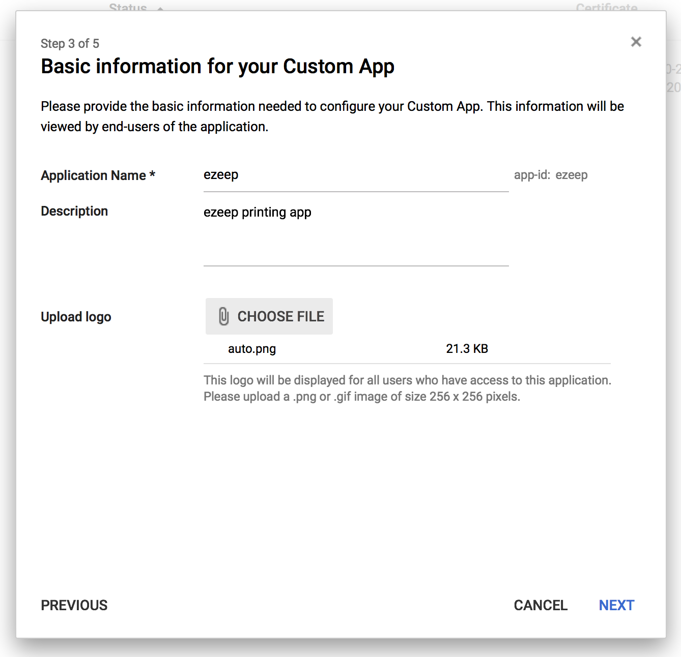screenshot: Basic information for your Custom App