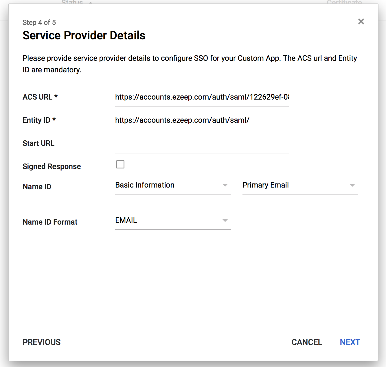 screenshot: verify google SSO details for ezeep