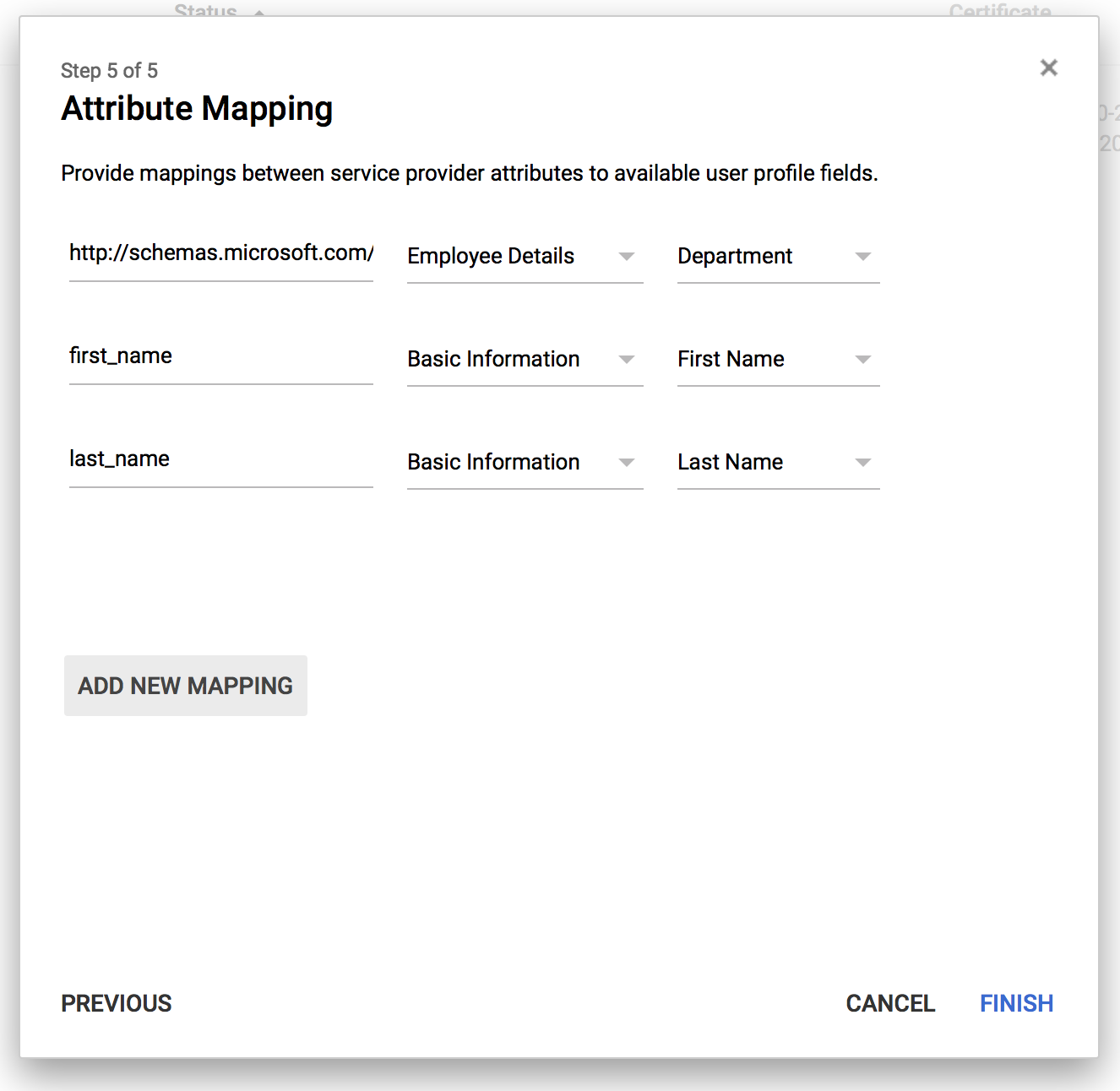 screenshot: configure attribute mapping for user imports