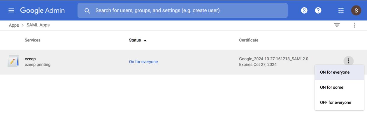 screenshot: enable the ezeep SSO app in your google admin portal