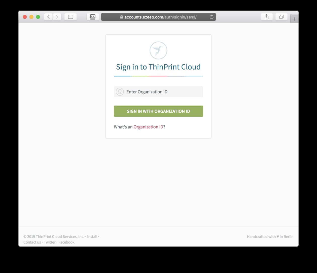 screenshot: sign in to ezeep with organization ID