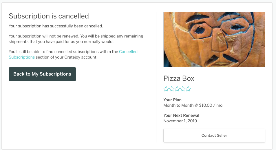 Cancellation confirmation