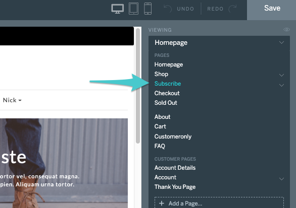 select subscribe from the page navigation