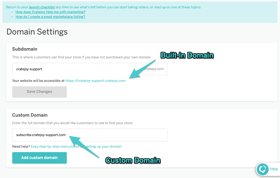 domain settings page
