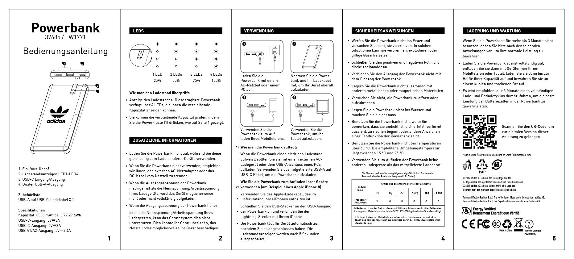 esquina artillería aerolíneas  adidas Powerbank Manual - DE : Help Center - adidascases.com - Telecom  Lifestyle Fashion
