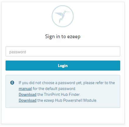 screenshot: ezeep Hub sign-in