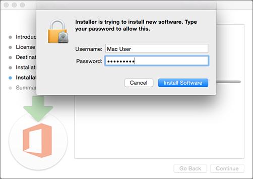 Enter your admin password to begin installing