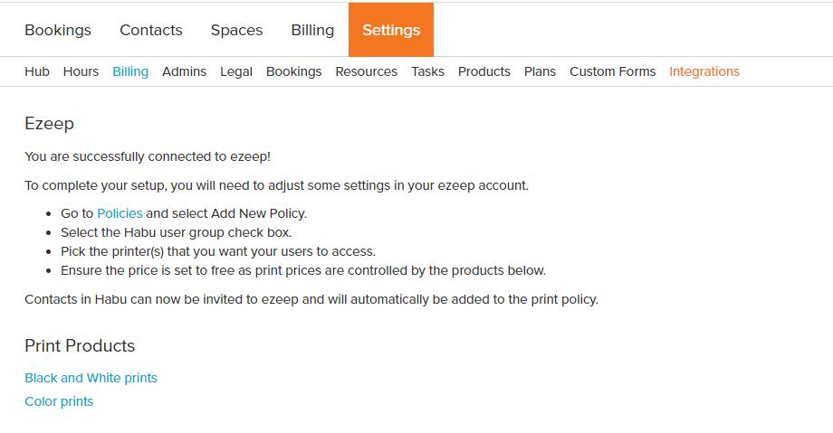 screenshot: ezeep integration settings