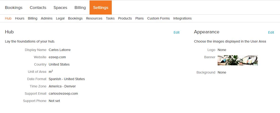screenshot: habu settings
