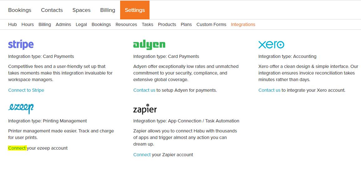 screenshot: habu integrations