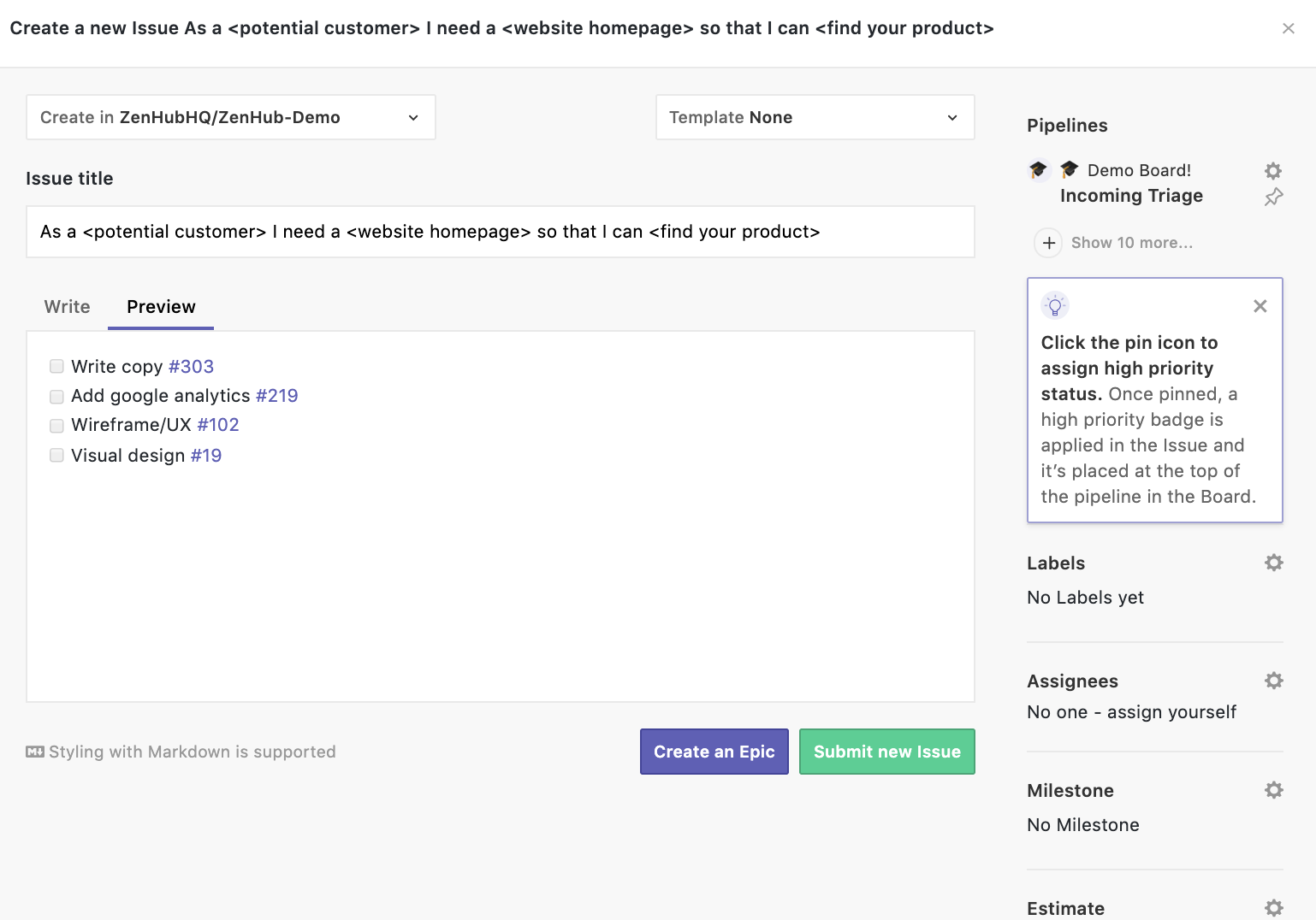 creating markdown checklists of tasks that need to be completed
