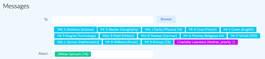 Pre selected student with related contacts