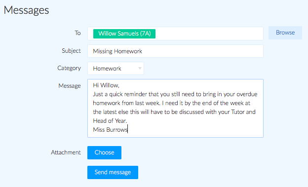 New message criteria filled in