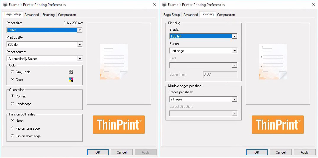 screenshot: printer properties of ezeep