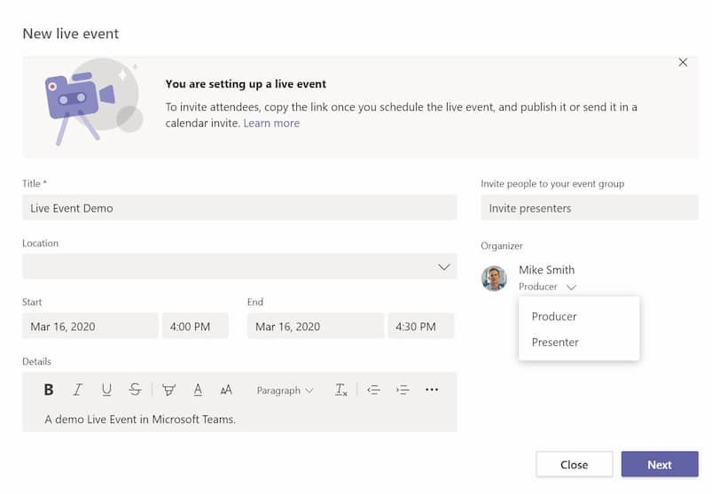Adding live event details in Microsoft Teams