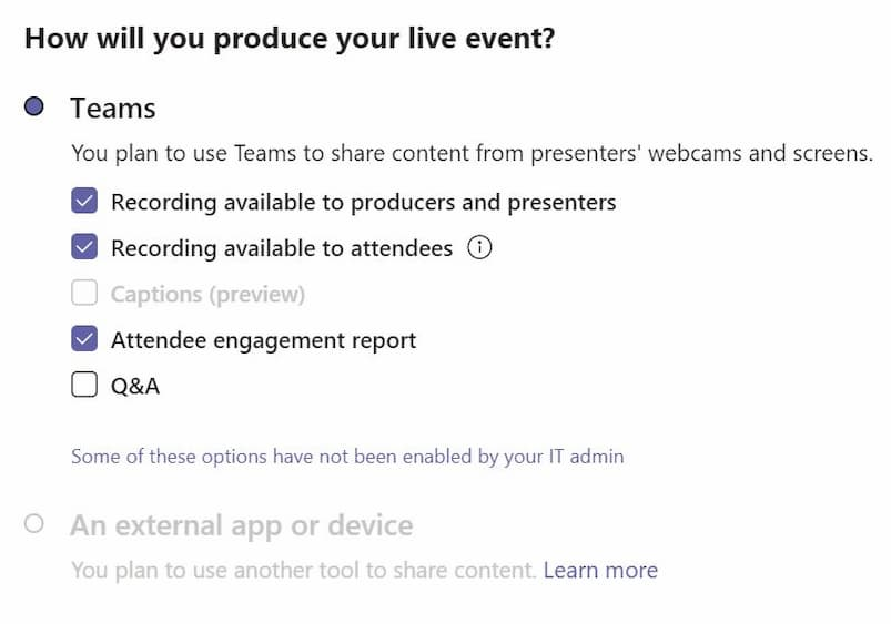 Settings to decide how you will produce your live event