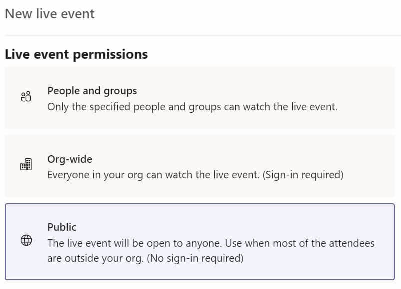 Live event permissions in Microsoft Teams live events