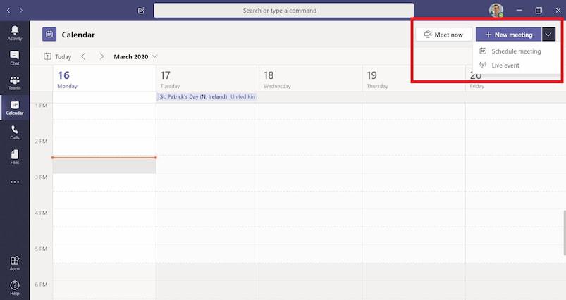 Scheduling a live event in Microsoft Teams calendar