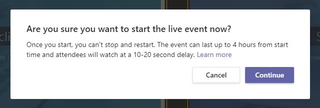 The start live event message window