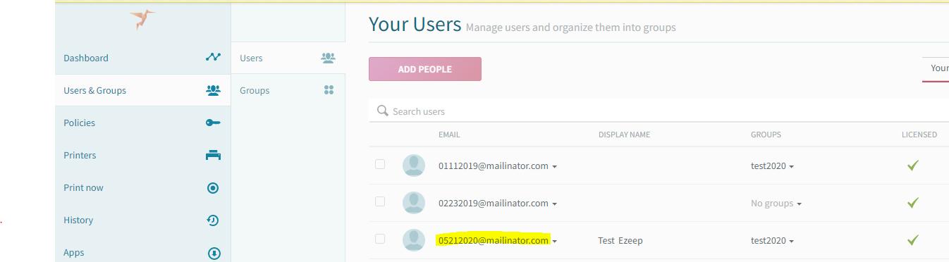 screenshot: ezeep user list