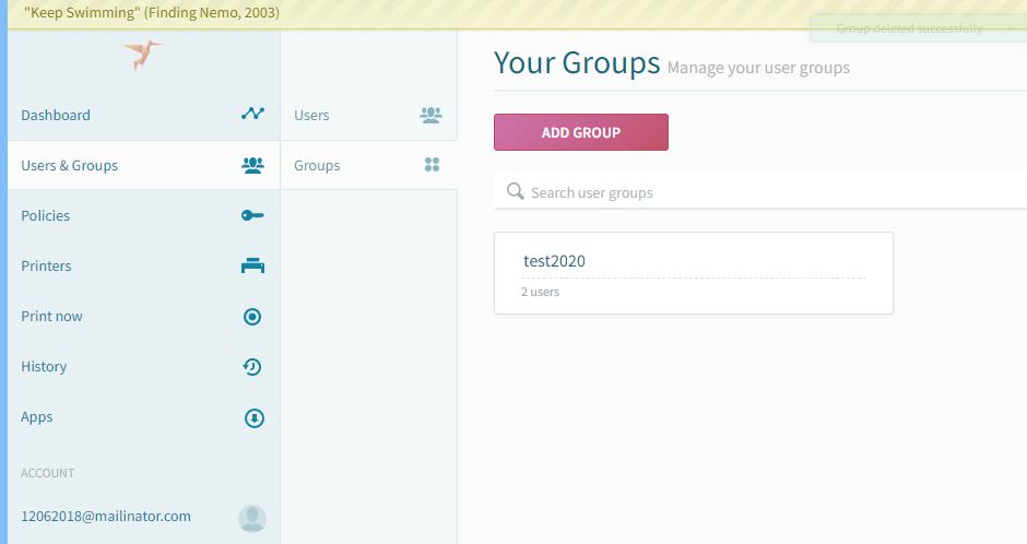 screenshot: ezeep Add Group