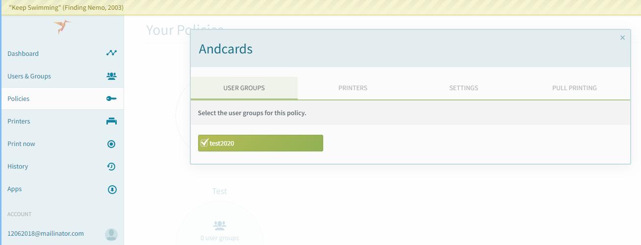 screenshot: ezeep add group to policy