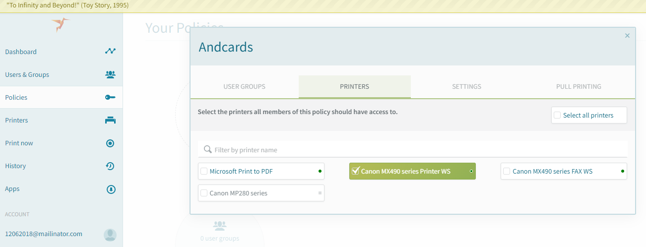 screenshot: add printers to policy