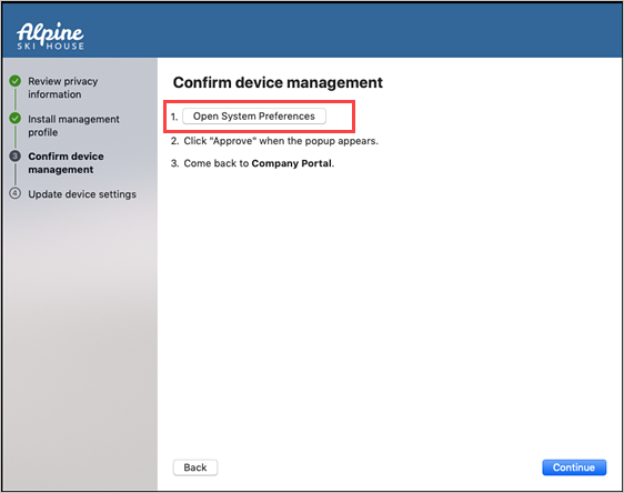 "Example screenshot of Confirm device management screen, highlighting ""Open System Preferences"" button."