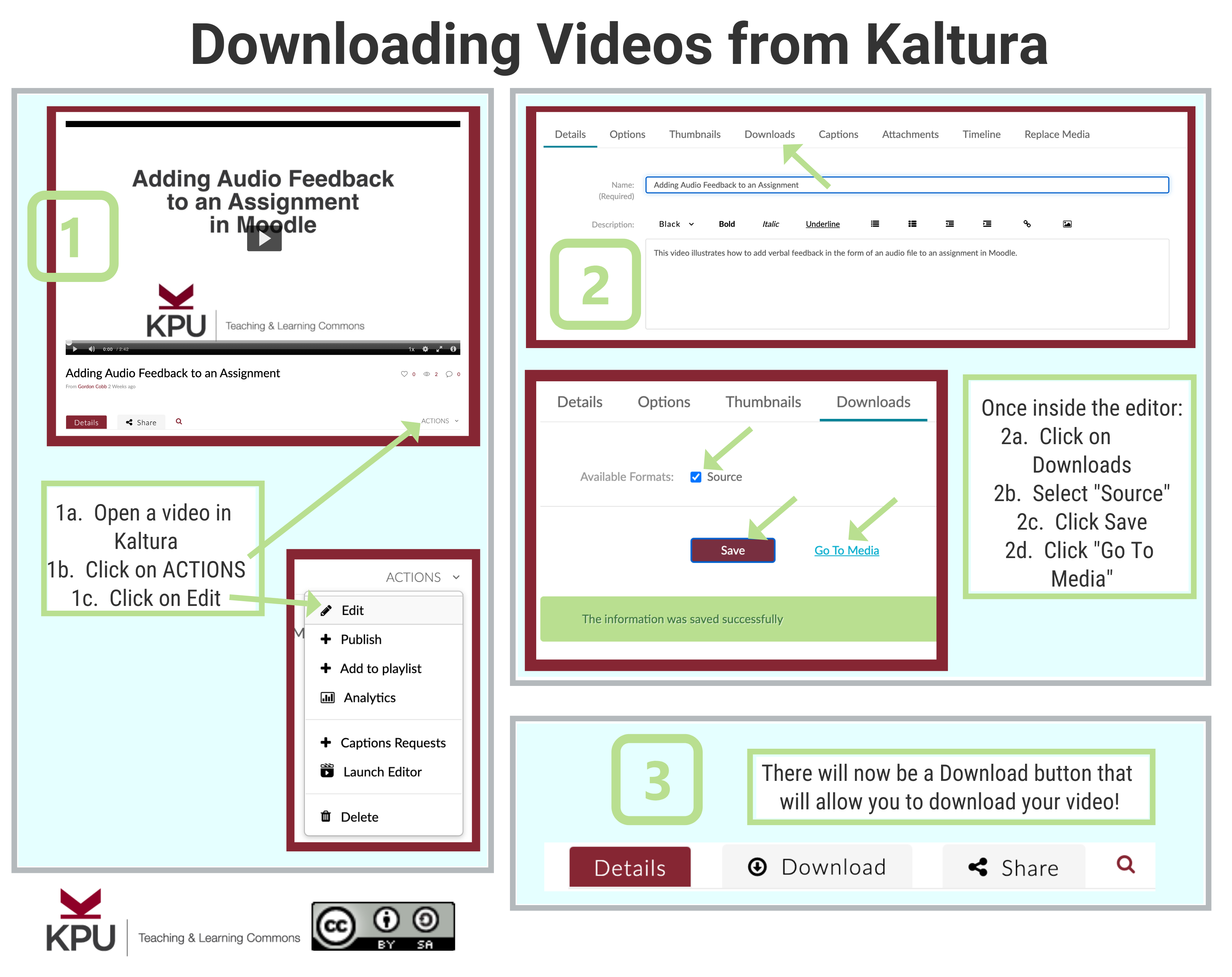 infographic for downloading videos from kaltura