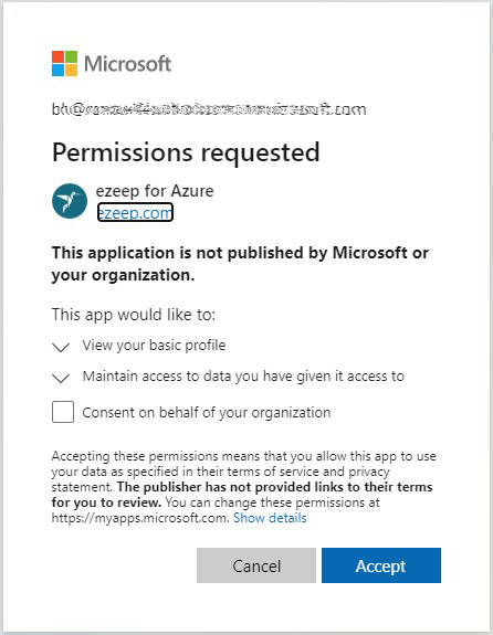 screenshot: grant azure permissions