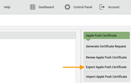 Sicherheitskopie des Apple-Push-Zertifikates speichern