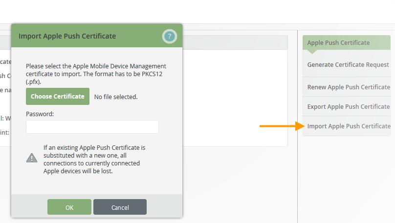 Sicherheitskopie des Apple-Push-Zertifikats hochladen