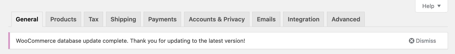WooCommerce Database Update complete admin banner