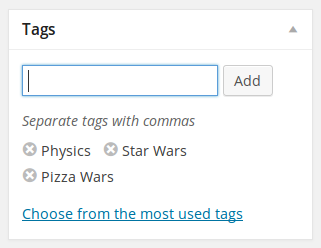 Tagging meta box - identical to the post editor tag box used in regular WP posts