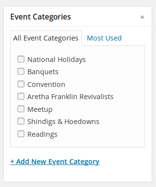Event categories selection box