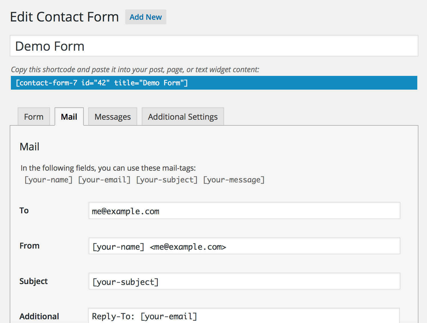 Screenshot image of the mail tab