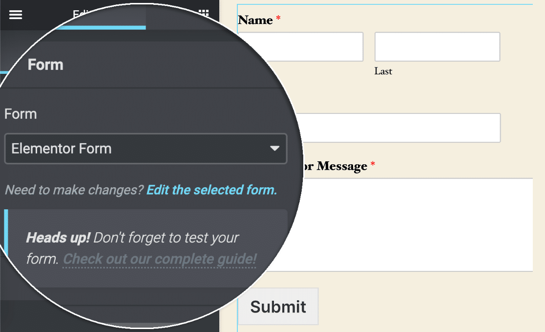 Elementor edit form link