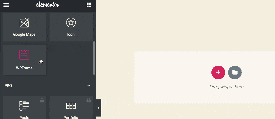 Drag WPForms widget onto Elementor page