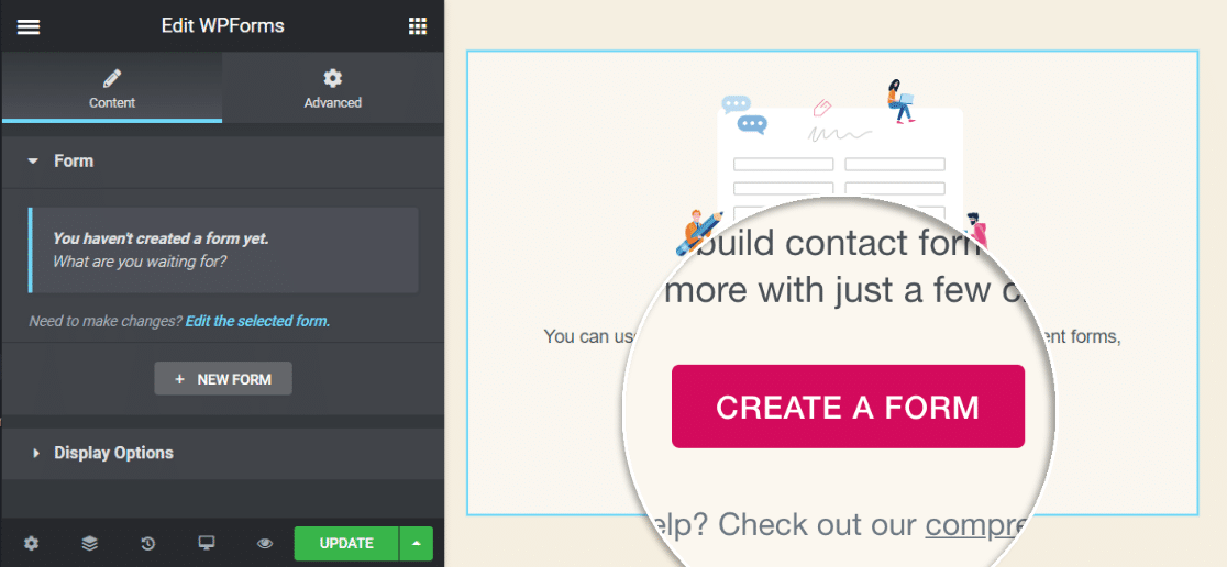 Create a form button in Elementor