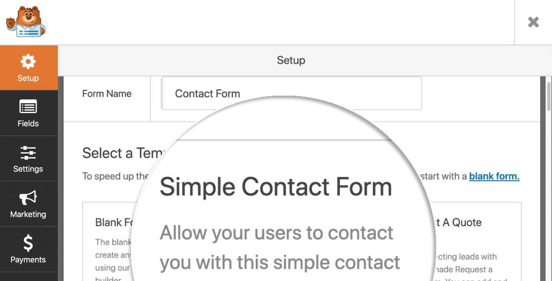 WPForms select template