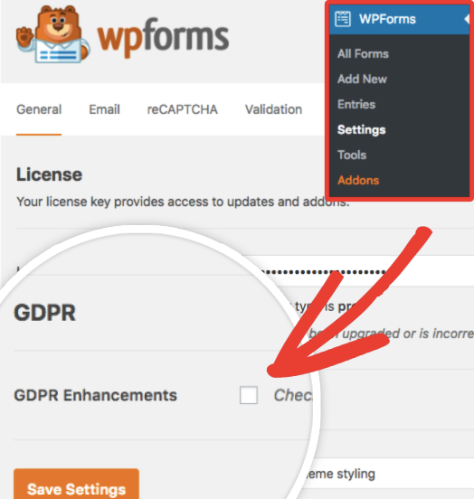 Check the GDPR enhancements box in WPForms Settings
