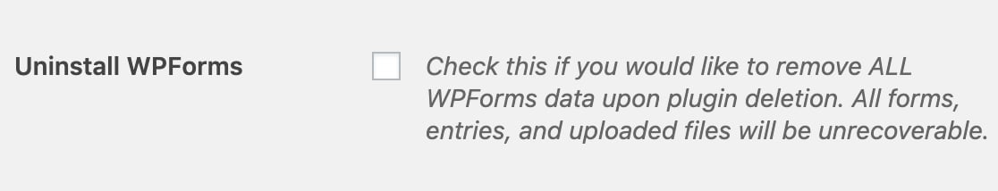 Uninstall WPForms