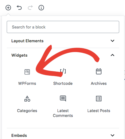 Select WPForms block in Gutenberg