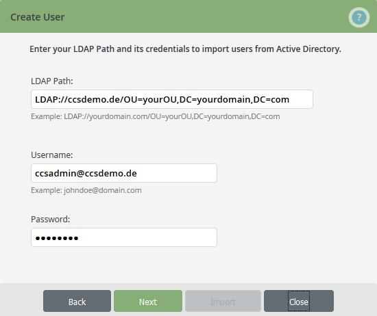LDAP-Pfad und Username und Passwort vom Admin eintragen