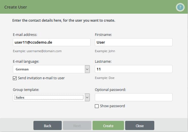 Nutzerdaten eintragen und Nutzer erstellen